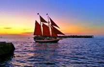 Tall Ship sails at sunset Key West